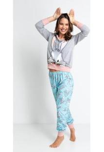 Pijama Longo Meia Malha De Algodão - Pernalonga Acuo Feminino - Feminino-Azul