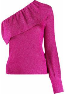 Redvalentino Blusa Ombro Único De Tricô - Rosa