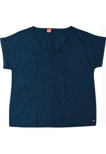 Blusa Azul Lisa Decote V