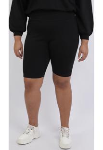 Bermuda Feminina Mindset Plus Size Ciclista Cintura Alta Preta