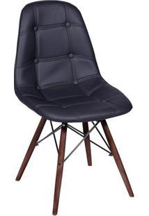 Cadeira Eames Botonê- Preta & Madeira Escura- 83X44Xor Design