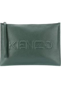 Kenzo Clutch De Couro Co Zíper - Verde