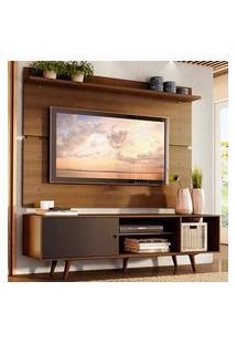 Rack Madesa Dubai E Painel Para Tv Até 65 Polegadas Com Pés - Rustic/Preto 7K5Z Marrom