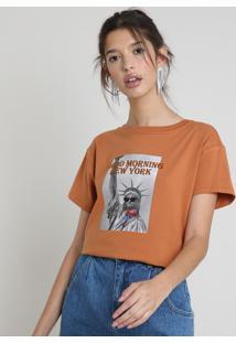 "Blusa Feminina ""New York"" Manga Curta Decote Redondo Caramelo"