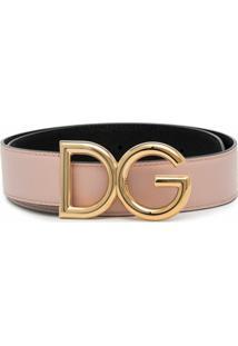 Dolce & Gabbana Cinto De Couro Com Logo Na Fivela - Rosa
