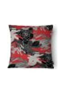 Capa Para Almofada Flores Veludo 43X43Cm Vermelho E Cinza