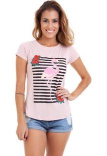 Blusa Kinara Malha Flamingo - Feminino-Rosa