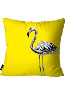 Capa Para Almofada Mdecore Flamingo Amarelo 35X35