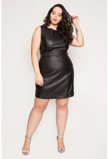 Vestido Curto Almaria Plus Size Sinap Couro Feminino - Feminino-Preto