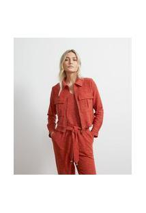 Jaqueta Em Malha Viscolinho Texturizada | Atelier | Laranja | Pp