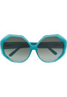 Linda Farrow Óculos De Sol Geométrico - Azul
