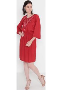 Vestido Floral Com Bordado- Vermelho & Rosa Claro- Mmalwee