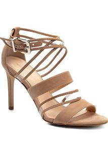 Sandália Couro Shoestock Salto Fino Vinil Feminina - Feminino-Nude