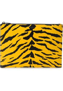 Saint Laurent Clutch Com Estampa De Zebra - Amarelo