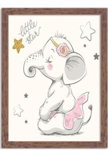 Quadro Decorativo Infantil Elefantinha Bailarina Madeira - Grande