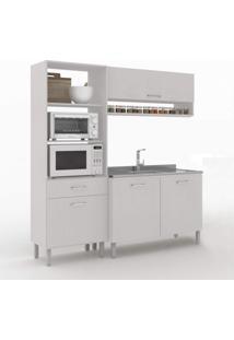 Cozinha Compacta 3 Peças 4 Portas Uccelli Vedere Gris/Cinza Claro