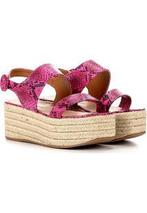 Sandália Flatform Zatz Corda Feminina - Feminino-Pink