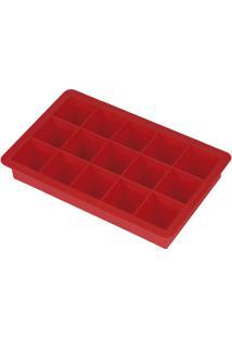 Forma De Silicone Para Gelo 15 Cubos - Unissex-Vermelho