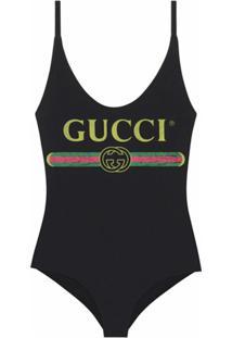 Gucci Maiô Com Logo - Preto