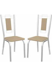 Kit 2 Cadeiras Florença Cromado Kappesberg 2C005 Nude