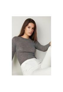Blusa Tubinho Em Lã E Seda Com Decote Redondo - Cinza G
