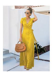 Vestido Branly Longo - Amarelo Com Bolinhas Brancas