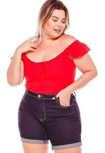 Bermuda Meia Coxa Almaria Plus Size Fact Jeans Azu
