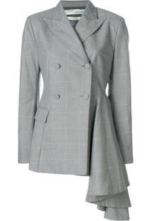 Off-White Jaqueta Assimétrica Transpassada Slim - Cinza