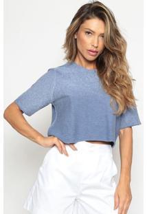 Blusa Cropped Em Moletinho - Azulcalvin Klein