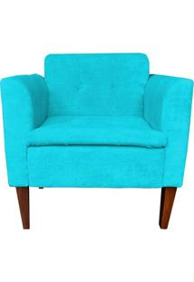 Poltrona Lia Decorativa Quarto Sala Suede Azul Turquesa