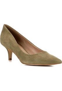 Scarpin Shoestock Salto Médio Classic Nobuck - Feminino-Verde