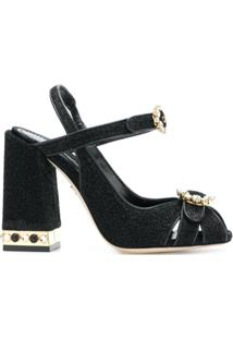 Dolce & Gabbana Sandália 'Bette' De Couro - Preto