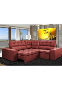 Sofa De Canto Retrátil E Reclinável Com Molas Cama Inbox Austin 2,20M X 2,20M Suede Velusoft Vermelho