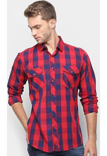 Camisa Xadrez Watkins & Krown Masculina - Masculino-Vermelho+Azul