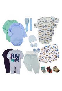 Kit 18Pç Roupa De Bebê Masculino Feminino Presente Enxoval Azul