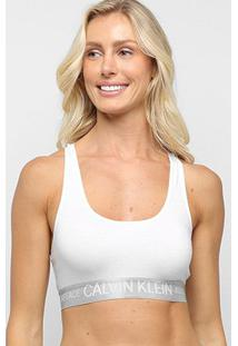 Sutiã Calvin Klein Top Nadador Reveillon Cotton - Feminino-Cinza