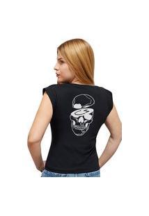 """Camiseta Casual 100% Algodão Estampa """"Caveira Smile"""""""" Avalon Cf01 Preta"""""""
