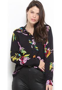Camisa Facinelli Floral Botões Feminina - Feminino-Preto