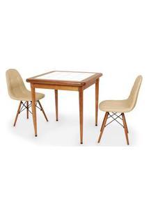 Conjunto Mesa De Jantar Em Madeira Imbuia Com Azulejo + 2 Cadeiras Botonê - Nude
