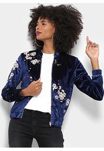 Jaqueta Bomber Lily Fashion Veludo Bordada Feminina - Feminino-Azul