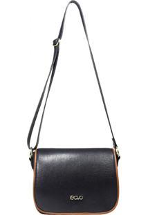 Bolsa Em Couro Recuo Fashion Bag Transversal Argo Azul/Ocre