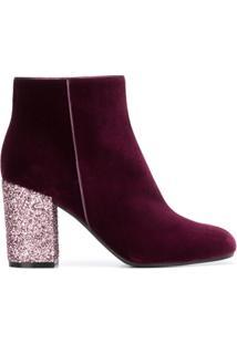 Pollini Ankle Boot Com Glitter No Salto - Pink & Purple