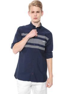 Camisa Tommy Hilfiger Reta Estampada Azul-Marinho