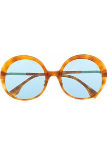 Fendi Eyewear Óculos De Sol Redondo Oversized - Neutro