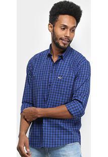 Camisa Tommy Jeans Gingham Shirt Xadrez Manga Longa Masculina - Masculino-Azul+Preto