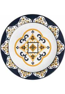 Conjunto De Pratos Rasos Com 06 Peças Em Cerâmica Floreal São Luiz Azul E Amarelo - Oxford Daily