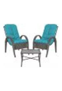Jogo Cadeiras 2Un E Mesa P/ Jardim Edicula Varanda Descanso Trama Napoli Plus Tabaco A20