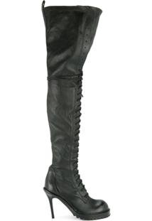 Ann Demeulemeester Bota Over The Knee De Couro - Preto
