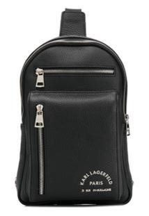 Karl Lagerfeld Logo Print Zipped Shoulder Bag - Preto