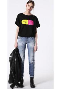 Camiseta De Manga Curta Diesel T-Hanna-Ba Maglietta - Feminino-Preto